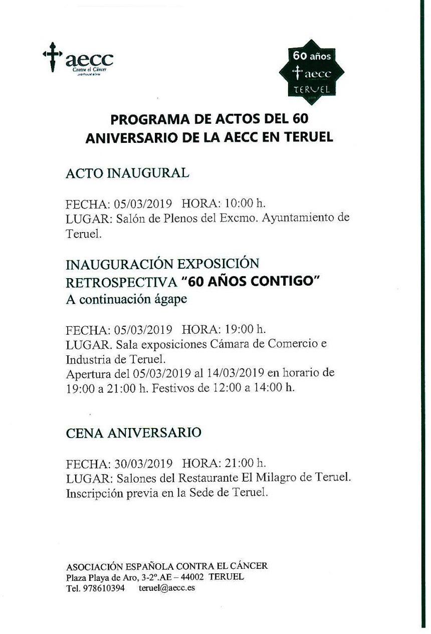 aecc Teruel celebra su 60 aniversario