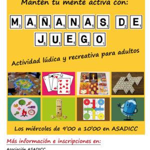 """Asadicc organiza el taller """"Mañanas de Juego. Actividad lúdica y recreativa para adultos"""""""