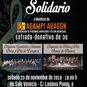 """Concierto Solidario de la Orquesta de Pulso y Púa Atenea de Huesca y la Orquesta Laudística """"Armonía Pulso y Púa"""" de Zaragoza a beneficio de ADAMPI-Aragón"""