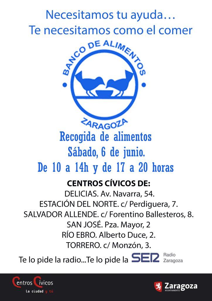 Gran Recogida de Cadena Ser y Centros Cívicos Zaragoza para el Banco de Alimentos