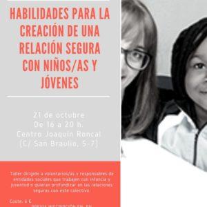 """Apúntate al taller presencial """"Habilidades para la construcción de una relación segura con niños/as y jóvenes"""""""