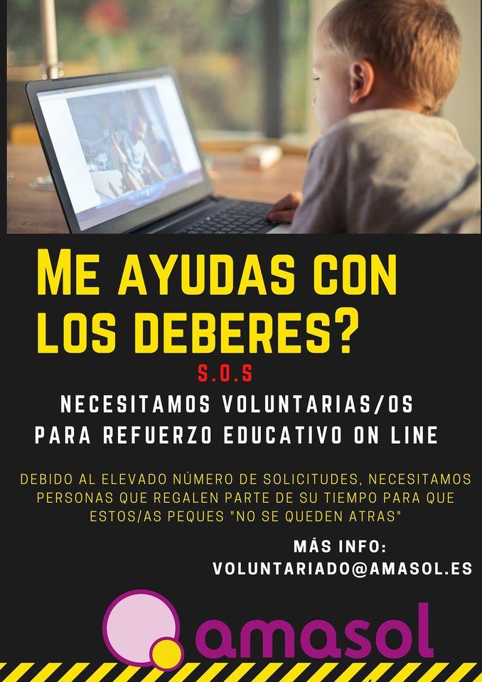 Amasol necesita voluntari@s para su programa de refuerzo educativo online